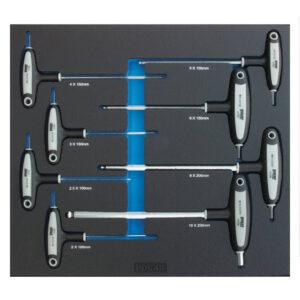 T-håndtag skruetrækkersæt for 6-kant skruer – med kuglehoved